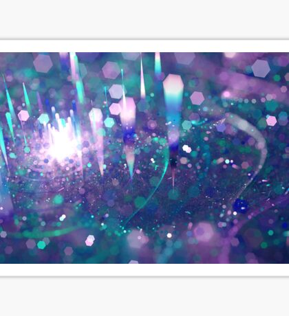 Bokeh abstract violet green techno background with hexagons Sticker