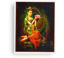 Kuan Yin And The Peacock Feather Canvas Print