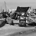 James Town Fishing Harbour - B&W by Shamila Chady