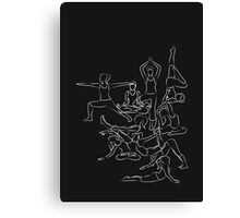 Yoga Asanas Pattern - white chalk Canvas Print