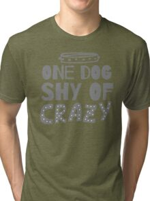 One DOG shy of CRAZY (with cute dog collar) Tri-blend T-Shirt