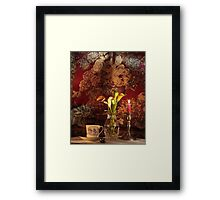Calla Lily, Candle and Tapestry Background with Tea Cup Framed Print