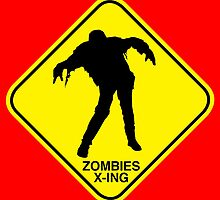 Zombies Crossing sign by monsterplanet