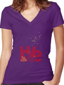 Love & Live (red) Women's Fitted V-Neck T-Shirt