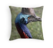 cassowary head shot Throw Pillow