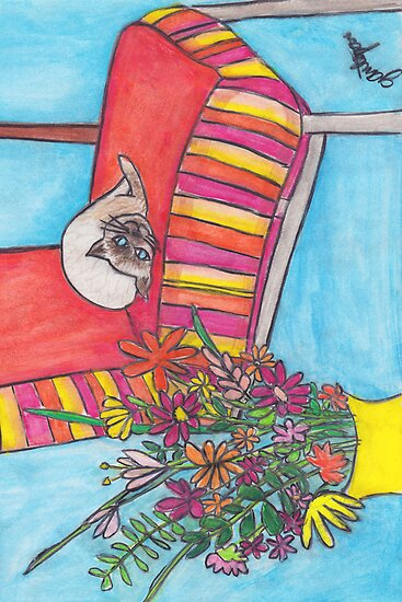 Cat Greeting Card by Janet Antepara