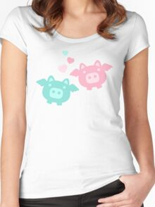 Pastel Flying Pigs in Love Women's Fitted Scoop T-Shirt