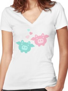 Pastel Flying Pigs in Love Women's Fitted V-Neck T-Shirt