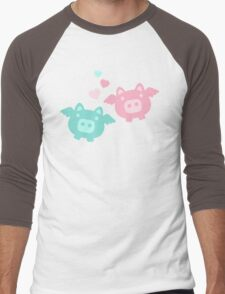 Pastel Flying Pigs in Love Men's Baseball ¾ T-Shirt
