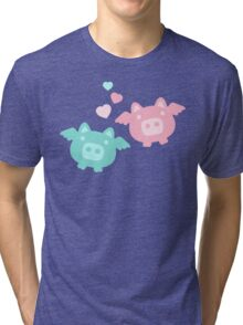 Pastel Flying Pigs in Love Tri-blend T-Shirt