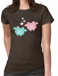 Pastel Flying Pigs in Love Womens Fitted T-Shirt
