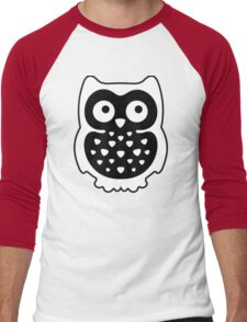 Black & White Owl Men's Baseball ¾ T-Shirt