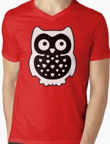 Black & White Owl Mens V-Neck T-Shirt