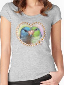 Pacific parrotlet parrot realistic painting Women's Fitted Scoop T-Shirt