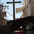 Tattoo parlour and crucifix, Jerusalem by Tony Roddam