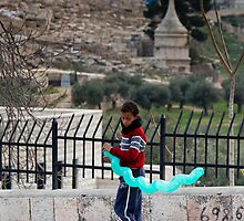 Boy with balloon, Jerusalem by Tony Roddam