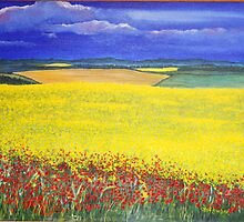Poppies in the Rape Field by Annie Lovelass