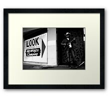 look, listen, pay the man Framed Print
