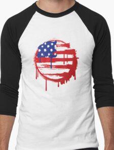 Stars and Stripes (grunge) Men's Baseball ¾ T-Shirt