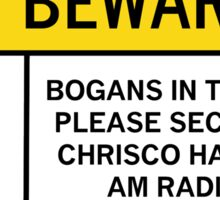 Caution - Bogans Sticker