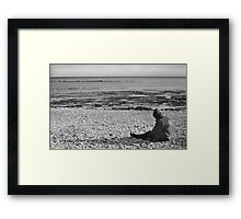 Lone Man Sitting on Pebble Beach Framed Print