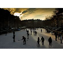ice-hokey on the canal Photographic Print