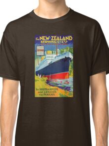 New Zealand Vintage Travel Poster Restored Classic T-Shirt