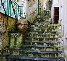 Steep rain-soaked steps, Minori, Amalfi Coast, Italy by Andrew Jones