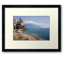 Beach scene, Minori, Amalfi Coast, Italy Framed Print