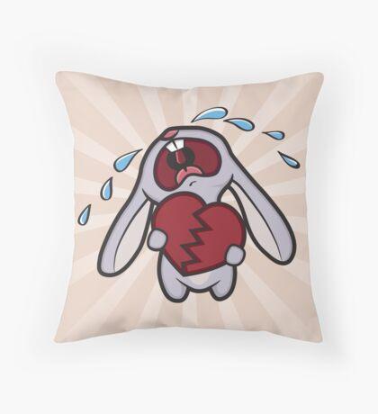 Broken Hearted Bunny Throw Pillow