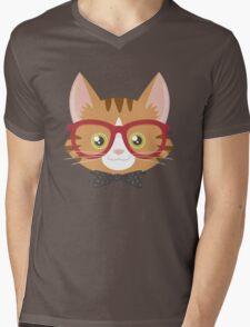 Orange Tabby Hipster Cat Mens V-Neck T-Shirt