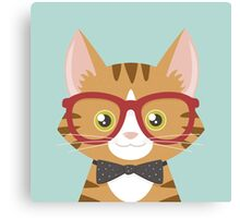Orange Tabby Hipster Cat Canvas Print
