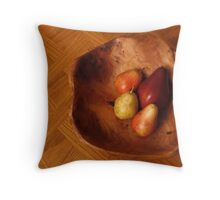 Four Pears In a Carved Wood Bowl Throw Pillow