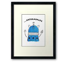 Blue Dalek - Hand drawn, Watercolor Framed Print