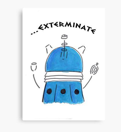Blue Dalek - Hand drawn, Watercolor Canvas Print