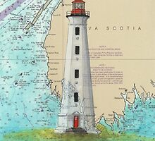 Cape Sable Lighthouse NS Canada Map Cathy Peek Art by Cathy Peek
