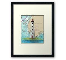 Cape Sable Lighthouse NS Canada Map Cathy Peek Art Framed Print