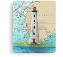 Cape Sable Lighthouse NS Canada Map Cathy Peek Art Canvas Print