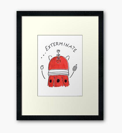 Red Dalek - Hand drawn, Watercolor Framed Print