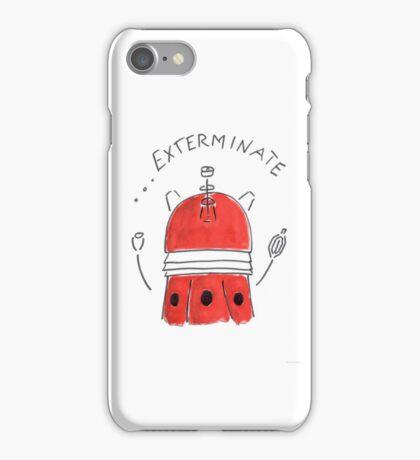 Red Dalek - Hand drawn, Watercolor iPhone Case/Skin