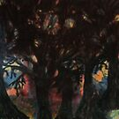 Fire in the forest by George Hunter