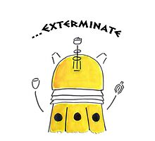 Yellow Dalek - Hand drawn, Watercolor by nessaaw