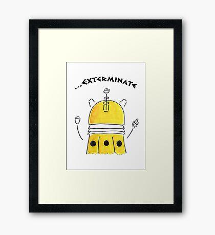 Yellow Dalek - Hand drawn, Watercolor Framed Print