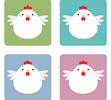 White Kawaii Chicken Square Pattern by Lisa Marie Robinson