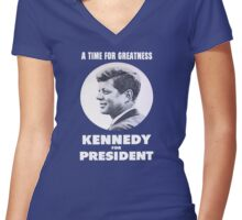 """A Time for Greatness"" - JFK 1960 Campaign - female t-shirt Women's Fitted V-Neck T-Shirt"