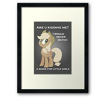 Applejack lies with Text Framed Print