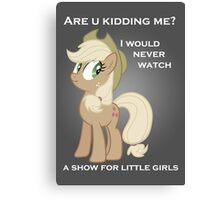 Applejack lies with Text Canvas Print