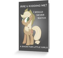 Applejack lies with Text Greeting Card