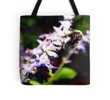 Bee on flower stalk Tote Bag