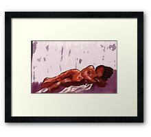Sleeping, watercolor Framed Print